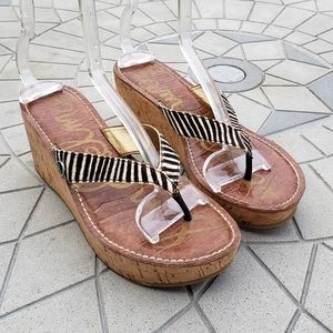Sam Edelman Romy Zebra Calf Hair Wedge Sandals